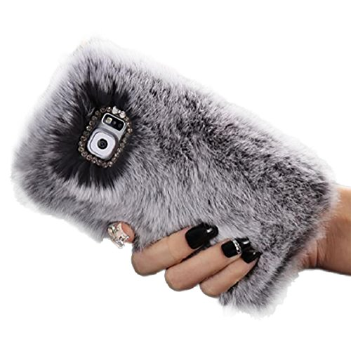 For Samsung Galaxy S7 Case,Ikevan New Premium Fluffy Villi Fur Plush Wool Bling Case Cover Skin For Samsung Galaxy S7 (Gray) (Grey Basic Bling)