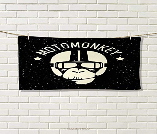Anniutwo Outer Space,Travel Towel,Sign Alien Monkey Astronaut Costume in a Galaxy Stars Poster,Quick-Dry Towels,Black White Size: W 14