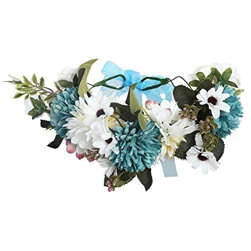 Luccaful Women Wedding Floral Crown Head Band Floral Head Wreath Flower Headband Bridesmaid Bridal Garland Forehead Hair Band,9 -