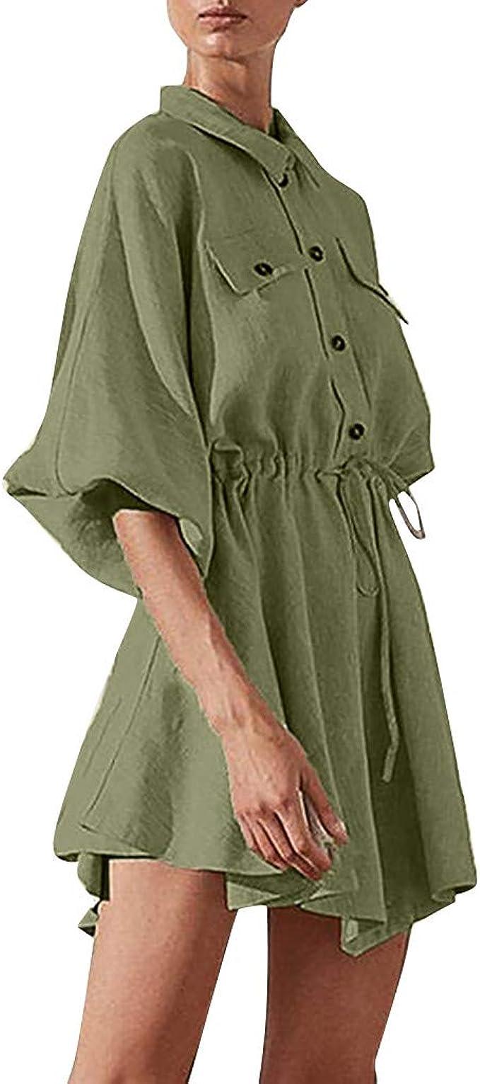 FRAUIT Salopette Donna Corta Gonna Taglie Forti Plus Size Oversize Camicia Ragazza Lunga A Vestitino Elegante Vestito Donne Eleganti Corto Estivo Monopezzi Ragazze Sensuali Abito Abiti Corti da Sera