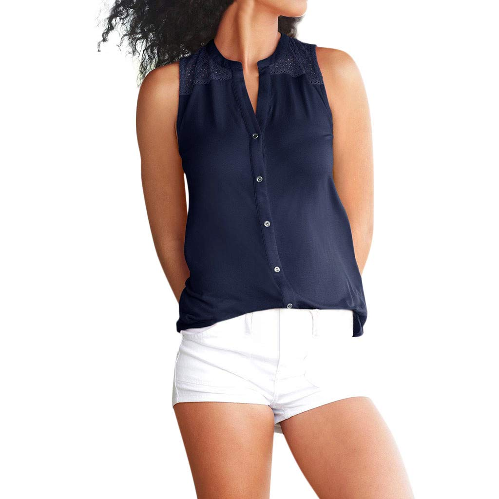Women Button Down Sleeveless V Neck Tops Loose Casual Flowy Tank Blouse (Navy, S)