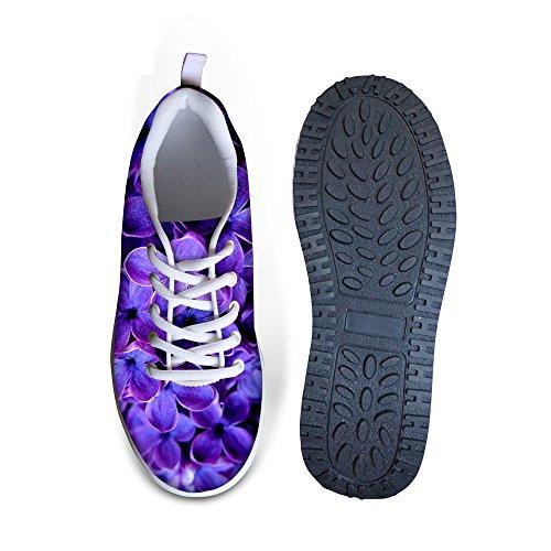 Per Te Disegni Vintage Stampa Floreale Fitness Walking Sneaker Casual Donna Zeppe Scarpe Con Zeppa Floreale Viola-2
