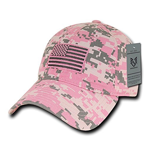 Rapid Dominance American Flag Embroidered Washed Cotton Baseball Cap - Pink ()