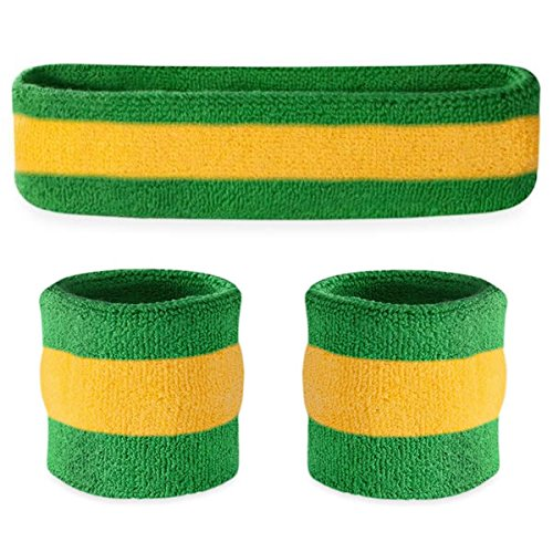 Suddora Striped Sweatband Set - (1 Headband and 2 Wristbands) Cotton for Sports & More. (Green Yellow Green)