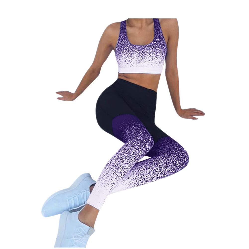 Weant Frauen 3//4 Yoga Hose High Waist Farbverlauf Sport Yogahose Leggings Sporthose Jogginghose Workout Fitness Caprihose Trainingshose S-XL Damen Yogahose Mit Steigb/üGel