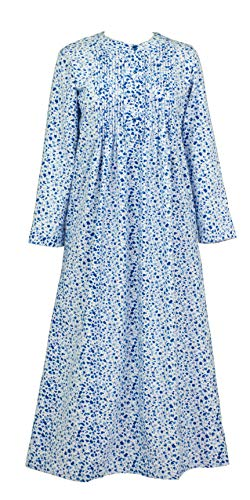 La Cera Plus Flannel Long Sleeve Pintucked Nightgown in Snuggle Blue (White/Blue Floral, 1X) (Pintucked Nightgown)