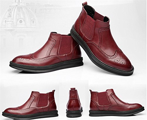 HENGJIA Herren Rindleder Brogue Chelsea Boots Schlupfstiefel Freizeitliche Schuhe Kurzschaft Stiefel Weinrot