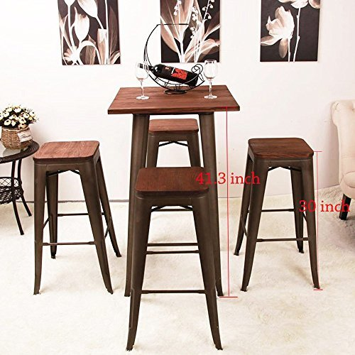 High Backless Metal Bar Stool for Indoor-Outdoor Kitchen Counter Bar Stools Set of 4 Bronze Metal with Wood Seat by Changjie Furniture (Image #6)