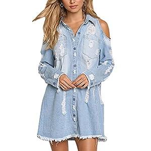 PiePieBuy Women's Distressed Ripped Denim Jean Jacket Shirt Dress Cold Shoulder Long Sleeve Shirt Dresses Chambray Blouse