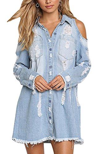 Meilidress Womens Cold Shoulder Distressed Demin Shirt Dresses Button Down Long Sleeve Frayed Jeans Jacket Blue