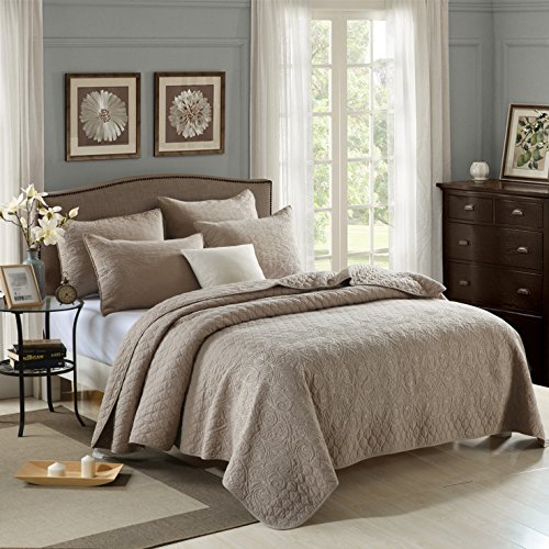 Solid color 3-Piece Embroidery Quilt Set, Bedspread Set, Finely Stitched, Coverlet Bed-cover, Queen Size, Brown