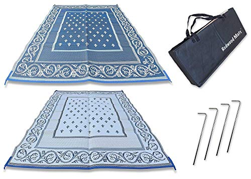 Redwood Mats Patio Mat 9' X 12' Blue Rv Mat Reversible Outdoor Rug Camping Indoor (With Ground Stakes & Carry Bag) by Redwood Mats