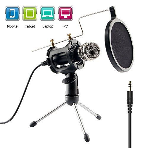 Imbeang Condenser Microphone with Audio Y Splitter, Plug & Play Home Studio Microphones with Mini Desktop MIC Stand dual-layer acoustic filter for Recording, PC, Computer, Podcasting