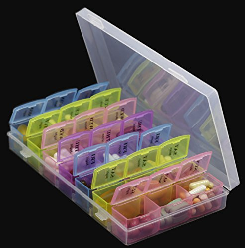 Pill Organizer Box with Snap Lids| 7-day AM/PM | Detachable Compartments for Pills, Vitamin. (Rainbow+60182) by Inspiration Industry NY (Image #6)