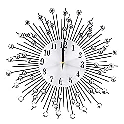 FTVOGUE Vintage Wall Clock Creative Iron Flower Wall-Mounted Diamond Hanging Clock Decoration