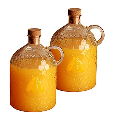 Honey Jug (Set of 2 Circleware Honey Bee 2 Liter Glass Jug Pitcher with Cork Stopper (2))
