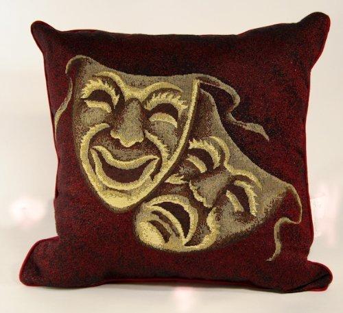 Stargate PILLMASKBUR-V1 Throw-Pillows, Comedy and Tragedy Masks, Burgundy -