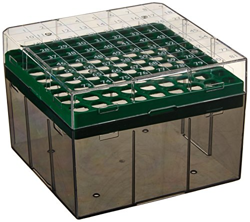 Globe Scientific BioBox 3042G Polycarbonate Storage Box with Transparent Lid for 3mL, 4mL and 5mL Tubes, Holds 81 Vials, Green (Pack of 4) (Green 5 Ml Tube)