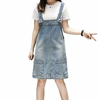 5c61117ad21 Elwow Lady s Plus Size A Line Beaded Vintage Denim Jeans Dungarees Skirt  Dress with Pockets (