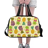 Gold Pineapple Travel Duffel Bag Luggage Totes for Weekend Trip