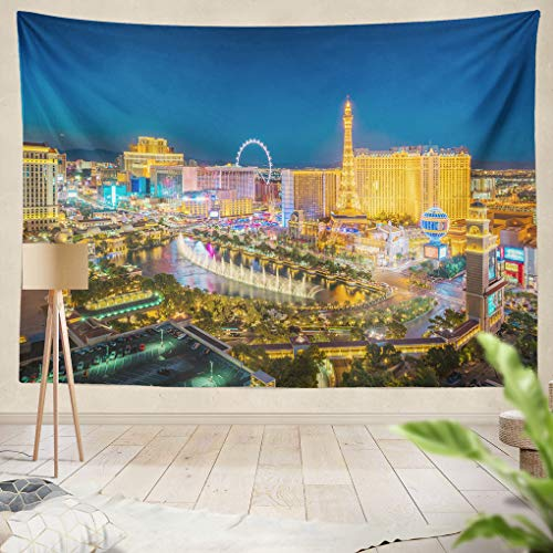 Summor Tapestry Aerial View Las Vegas Strip Nevada As Seen at Night USA Hanging Tapestries 60 x 80 inch Wall Hanging Decor for Bedroom Livingroom Dorm
