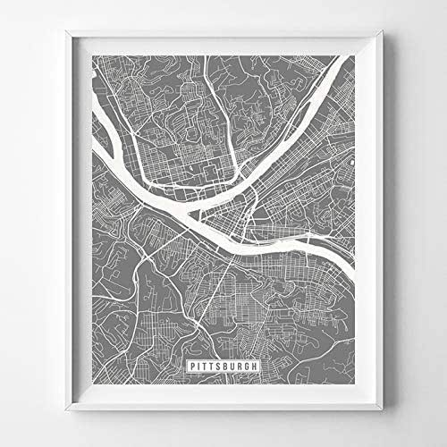 Amazon.com: Pittsburgh Pennsylvania Map Print Street