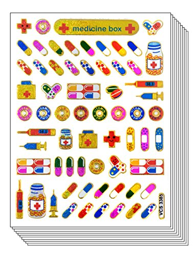(Drug Sticker, Pill Stickers, Medicine Box Stickers - 10 Sheets Decorative Sticker Scrapbook Stickers, Reflective Stickers - Stickers for Kids - Size 4 X 5.25 Inch./sheet (VCSG3385))