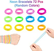 36 fluorescent neon hair elastics bands bobbles pony tail bright colours 80/'s