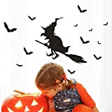 Gaddrt Removable Wall Sticker Happy Halloween Witch Bat Wall Sticker Window Home Decoration Decal Decor (C)