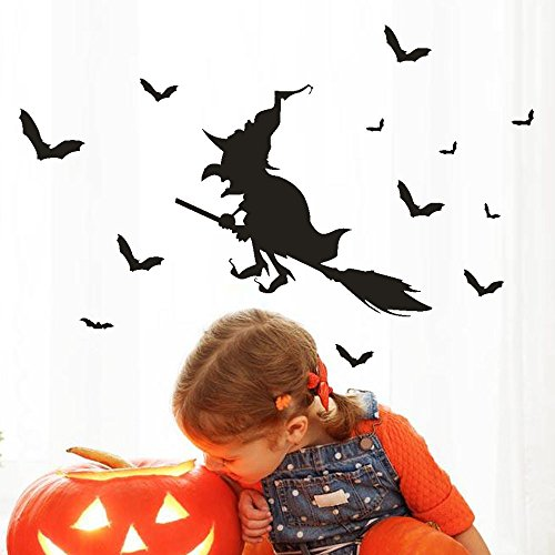 OTTATAT Wall Stickers For Bedroom Women 2019,Happy Halloween Witch Bat Window Home Decoration Decal Decor Easy to peel Independence Day Party Gift for wife Free post Under 5 dollars -