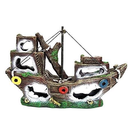 Amazon Com Aquarium Ornament Decoration Wreck Sunk Ship Sailing