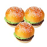 Mynse 3 Pieces Creative Cute Artificial Fake Bread Hamburger Attractive Sesame Hamburger