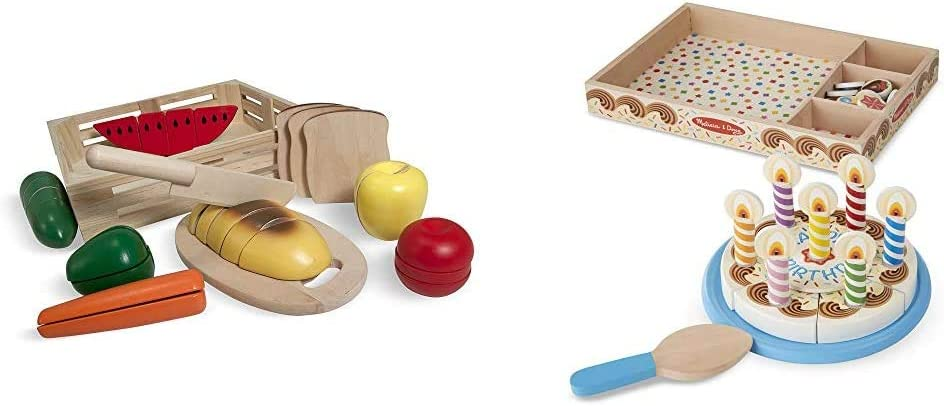 Melissa & Doug Cutting Food Wooden Play Food - The Original & Birthday Party Cake (Wooden Play Food, Mix-n-Match Toppings and 7 Candles)