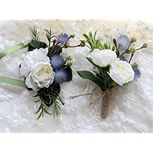 MOJUN Artificial Rose Flower Corsages and Boutonnieres Set Party Prom Wedding Flowers Simulation Rose, White 81
