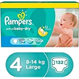 Pampers Baby-Dry Diapers, Size 4, 8-14 kg,value pack, 132 Count