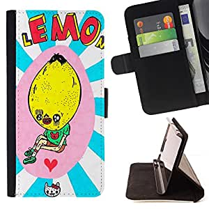 - Funny Lemon Kid Drawing Love Cat - Estilo PU billetera de cuero del soporte del tir???¡¯????n [solapa de cierre] Cubierta- For Apple Iphone 5 / 5S £¨ Devil Case £©