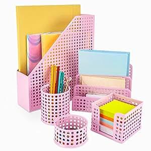 Amazon.com : Pink Desk Organizer Office Desk Set: 5 ...