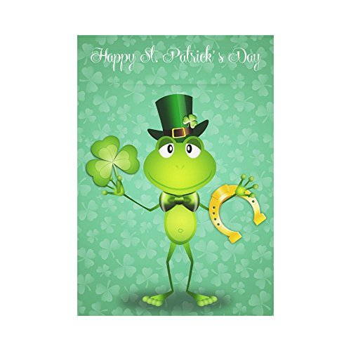 USOPHIA Green Frog St. Patrick's Day Polyester Garden Flag O
