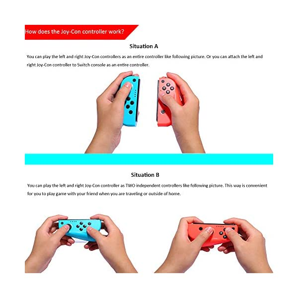 Wireless Joy Con Controller for Ninteodo Switch, CuleedTec Joy Pad Controllers (L/R) with Gyro and Gravity for Switch as… 6