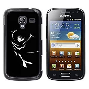 LECELL -- Funda protectora / Cubierta / Piel For Samsung Galaxy Ace 2 I8160 Ace II X S7560M -- Black & White Girl --