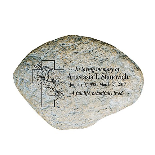 GiftsForYouNow Floral Cross Personalized Memorial Garden Stone by GiftsForYouNow