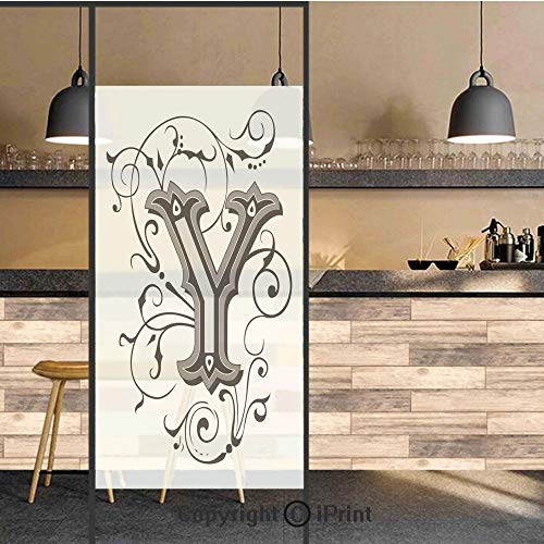 3D Decorative Privacy Window Films,Calligraphy Inspired Medieval Capital Letter Alphabet Symbol European Design Decorative,No-Glue Self Static Cling Glass film for Home Bedroom Bathroom Kitchen Office