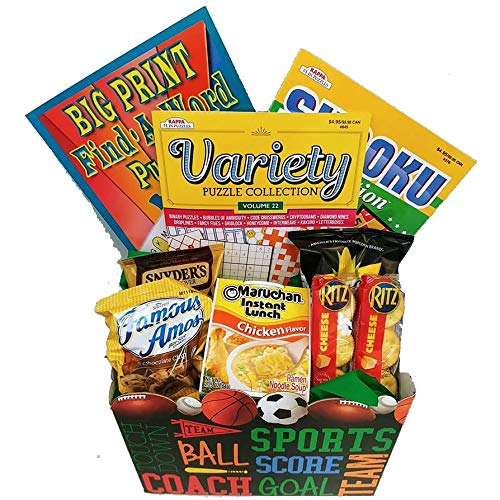 Mens Boredom Buster Get Well Gift: All Star Puzzle Books and Snacks
