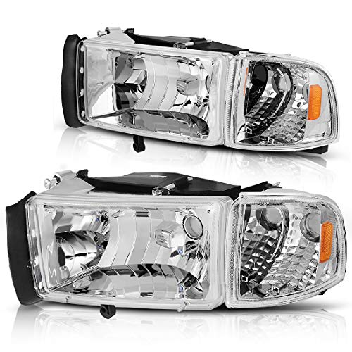 For 94-01 Dodge Ram 1500/94-02 Dodge Ram 2500 3500 Headlight Assembly OE Style Replacement Chrome Housing + Corner Lights