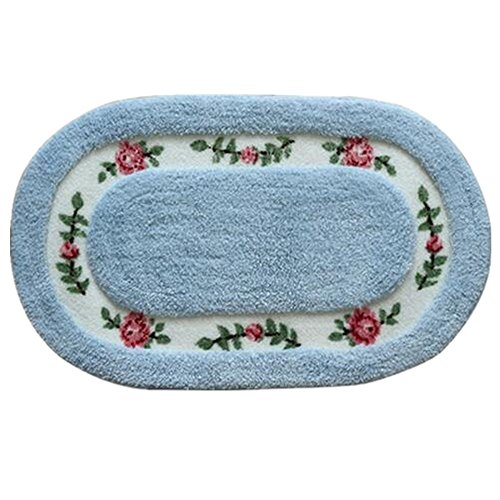 Oval Shaped Decorative Super Soft Floral Design Rural Style Pretty Rose Pattern Non Slip Absorbent Shaggy Area Rug Carpet Doormat Floormat Bath Mat Bathroom Shower Rug (20