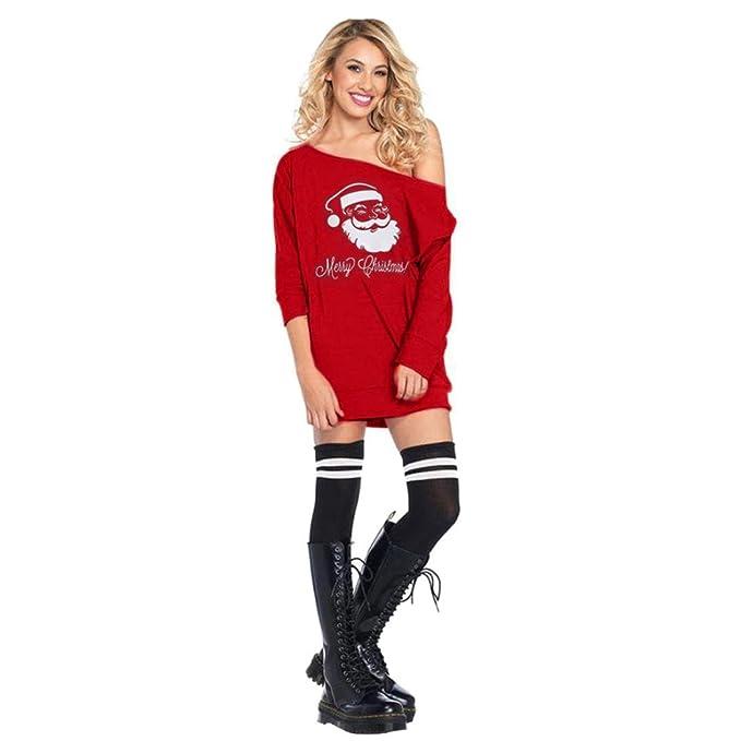 KOLY Donne da Babbo Natale Freddo Costume Vestito Ragazzine Senza Spalline  Vestito dalla Stampa Swing Maniche 05dfbcf9a27