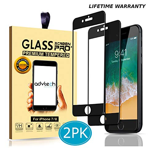 ADVTECH [2-Pack] iPhone 7 8 Screen Protector [Full Coverage Black] Tempered Glass [Edge to Edge Protection] 3D Natural Touch [0.33mm Ultra Thin] for Apple [HD] iPhone 4.7 inch [9H Hardened Glass]