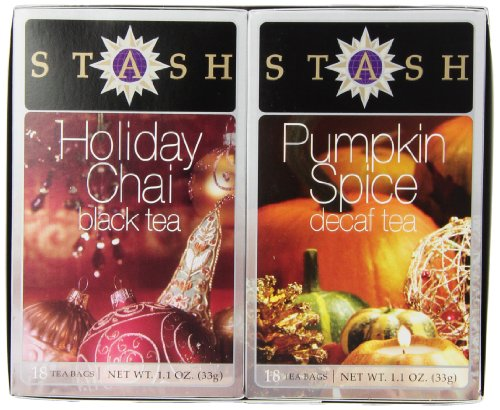 Stash Tea, Chai & Decaf Pumpkin Spice Holiday Twin Pack, 18 Tea Bags Each,