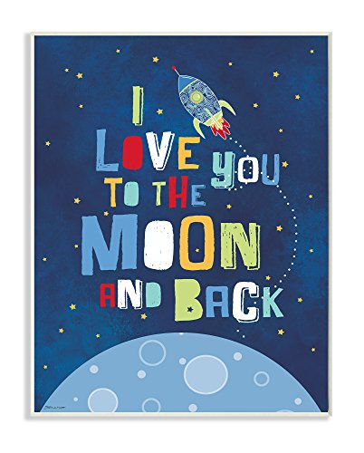Wall Art Rocket (Stupell Home Décor I Love You Moon and Back Rocket Ship Wall Plaque Art, 10 x 0.5 x 15, Proudly Made in USA)