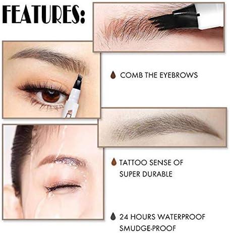 Lapiz de Cejas Waterproof, Tattoo Eyebrow Pen con Cuatro 4 Puntas ...